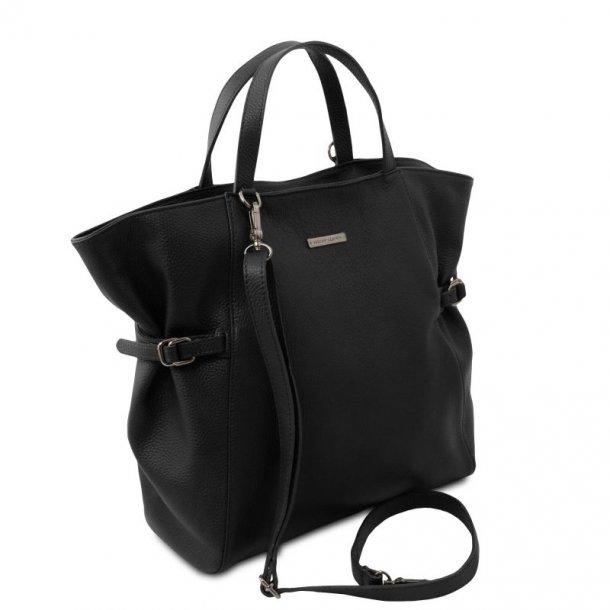 Læder big shopper dame hånd & skulder taske - 141883