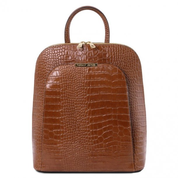 Croc. printet læder rygsæk til kvinder - 141918